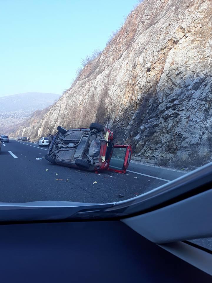 ФОТО: Автомобилот превртен и смачкан- страшна несреќа утрово кај Карпалак