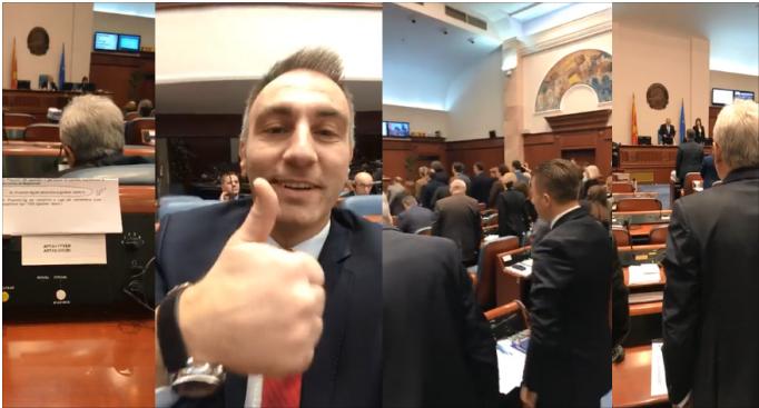 ВИДЕО: Артан Груби го снимал гласањето за Законот за двојазичност