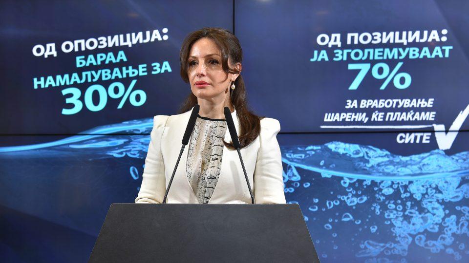 Попова: Наместо 13. плата, СДСМ воведува 13. сметка- Власта да го повлече барањето за поскапување на водата