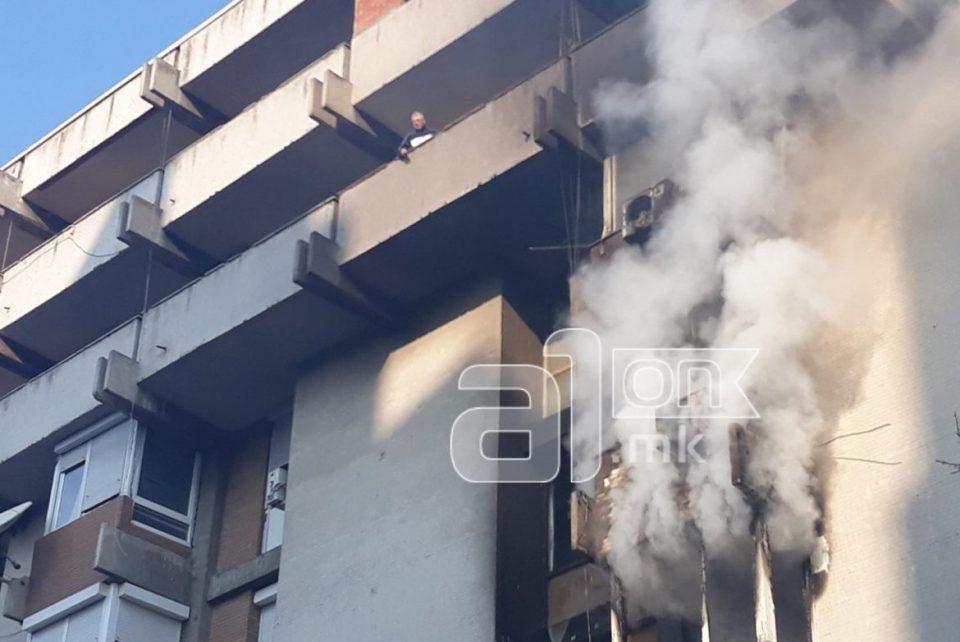 ФОТО: Пожар во центарот на Скопје, има луѓе кои се уште се во становите