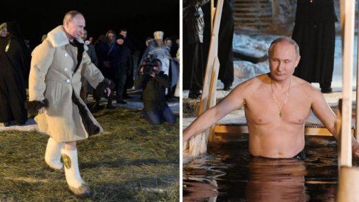ФОТО: И Путин во светите води на минусни температури