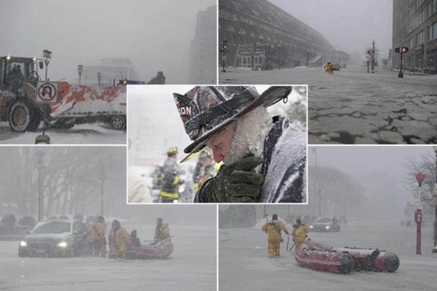 Циклонска бомба: Поплава го потопила Бостон, а потоа водата се замрзнала: 20.000 куќи без струја