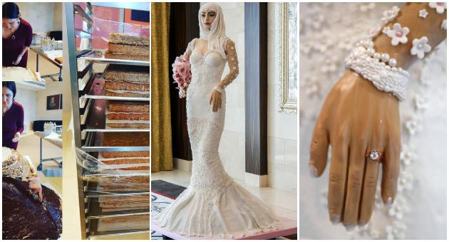 """""""Невеста од милион долари"""": Торта направена со 1000 јајца, 50 кила фондан, бисери и дијаманти (ФОТО)"""