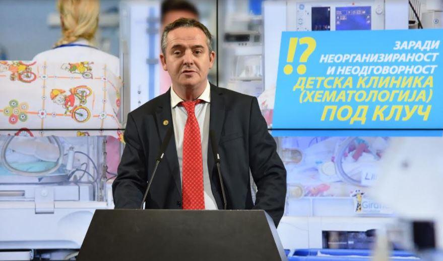 Николов: Неодговорноста на СДСМ кон здравството кулминираше, одделот за хематологија на Детска клиника повеќе од 24 часа не функционирал