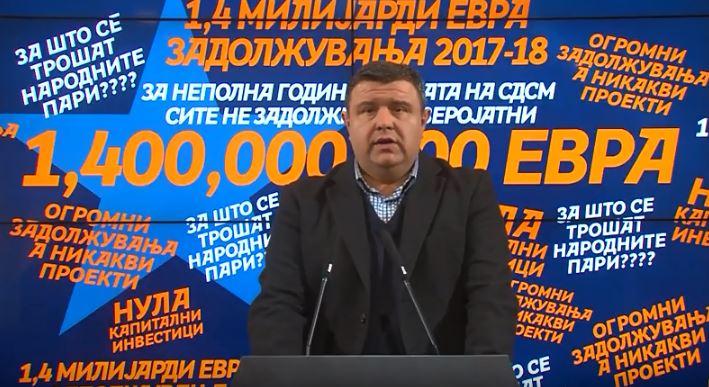 Мицевски: Расипништвото на СДСМ од нејзиното доаѓање до денес граѓаните ги чинеше 1.4 милијарди евра