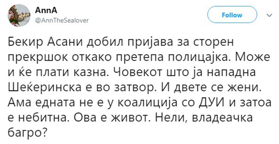Критики за постапката на Спасовски за Асани кој нападна полицајка: Нападнал службено лице и вие прекршочна?! (ФОТО)