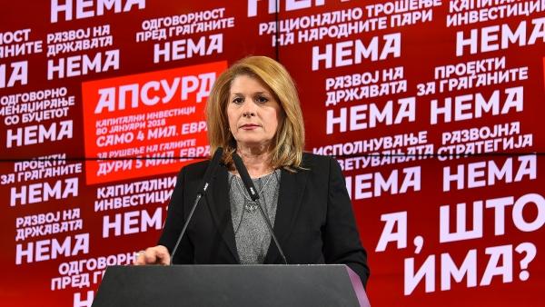 Кузмановска: Владата на СДСМ одвои само 1% од годишно планираните капитални инвестиции