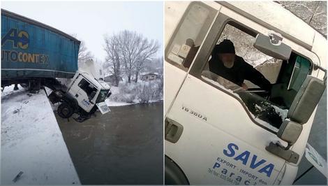 Два часа на ивица на смртта: Камионџијата кој висеше над Морава го спасија ладната глава и синот пожарникар