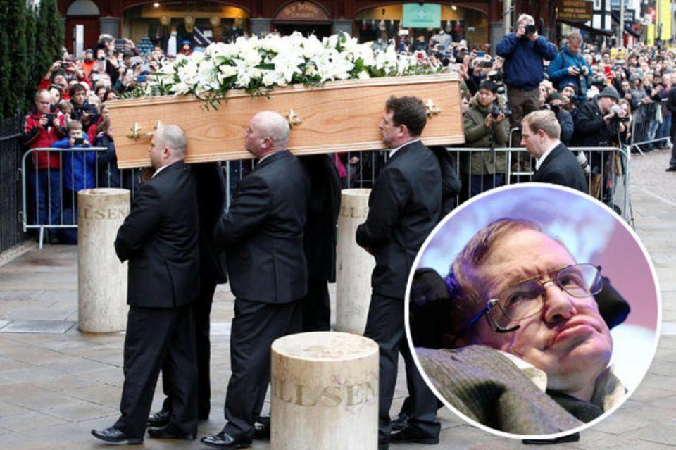 """ФОТО: Погребан Стивен Хокинг, последно """"збогум"""" за блескавиот научник"""