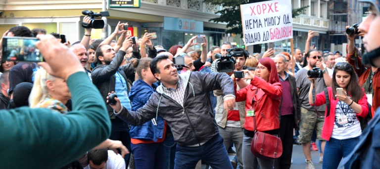 Мицкоски: Како дојдоа СДСМ на власт, со тепање, фарбање, со кршење на законот, така и сега продолжуваат