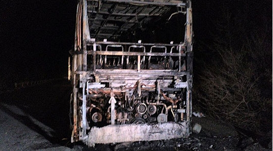 ФОТО: Автобус што патувал кон Македонија целосно изгоре, 46-те патници не се повредени
