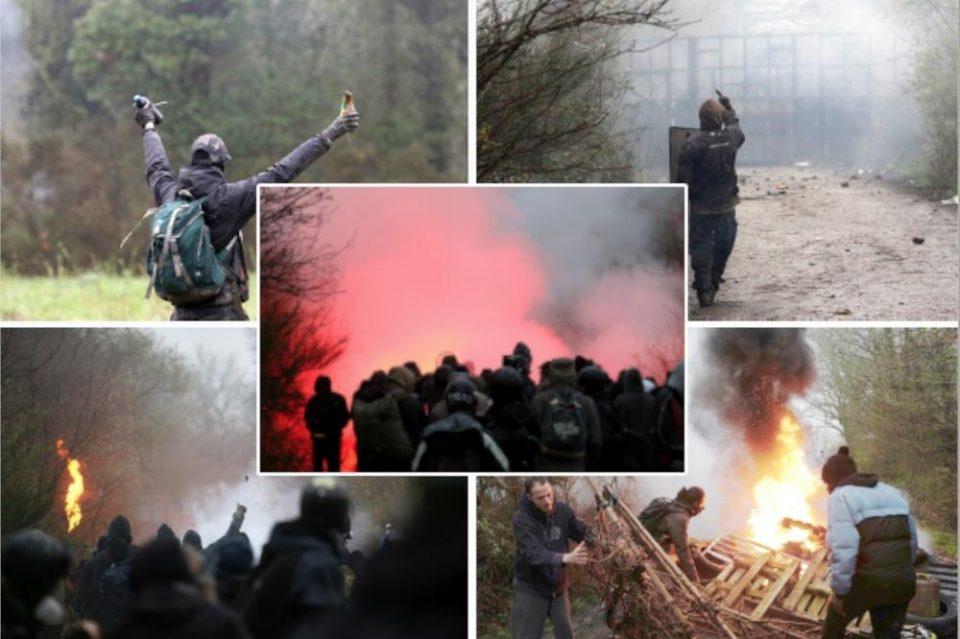 ХАОС ВО ФРАНЦИЈА: Полицијата ги растерува анархистите- летаат камења и шок бомби, еден полицаец повреден (ФОТО+ВИДЕО)
