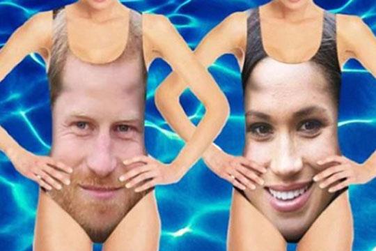 ФОТО: Се појавија костими за капење со ликот на принцот Хари и Меган Маркл- еве колку чинат