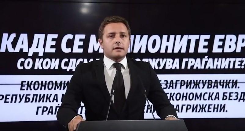 Арсовски: СДСМ да одговори- Kаде одат милионите со кои ги задолжуваат граѓаните?