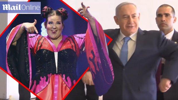 Ја насмеа цела држава: Премиерот на Израел по победата на Евровизија заигра како кокошка (ВИДЕО)