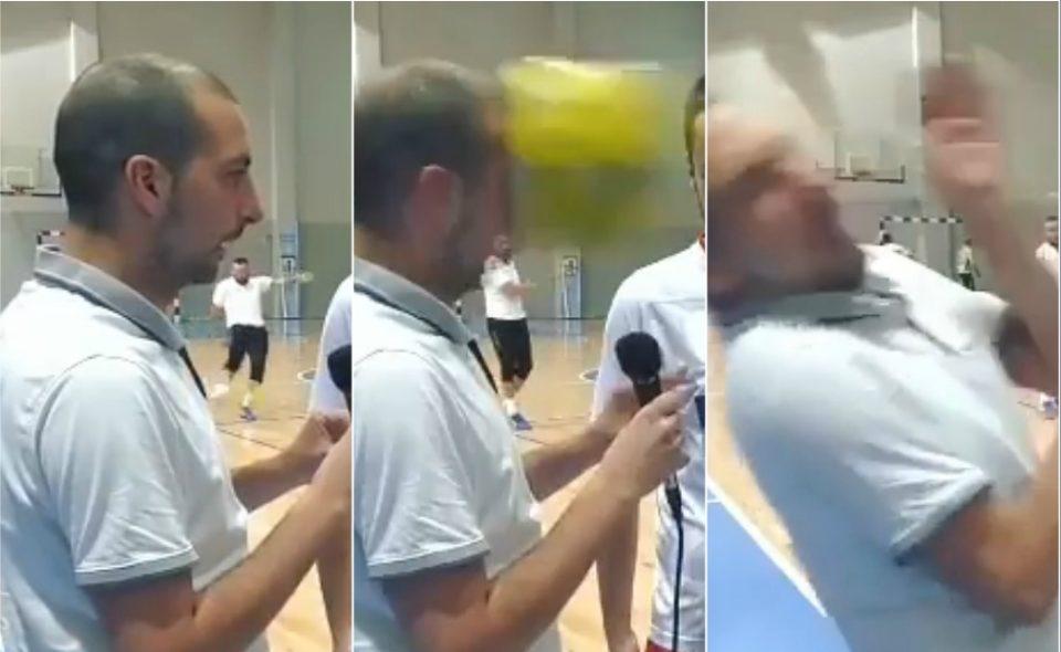 Инцидент во Бизнис лигата на Македонија: Топката со голема брзина заврши во лицето на новинар (ВИДЕО)