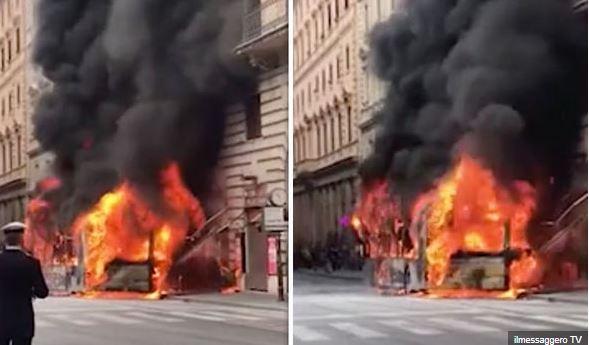 ВИДЕО: Автобус експлодираше во центарот на Рим