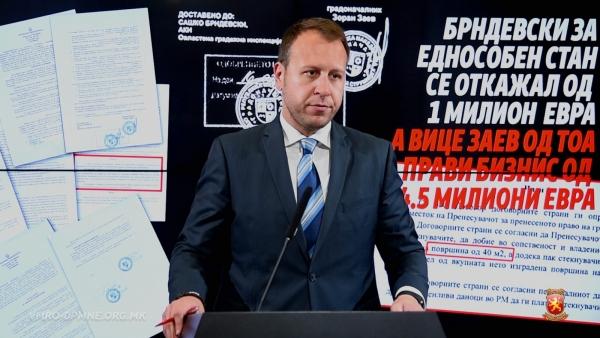 Јанушев: Брндевски за сметка на Заеви се откажал од 1.100.000 евра, за еднособен стан, а Вице Заев од тогаш прави бизнис од 4.5 милиони евра
