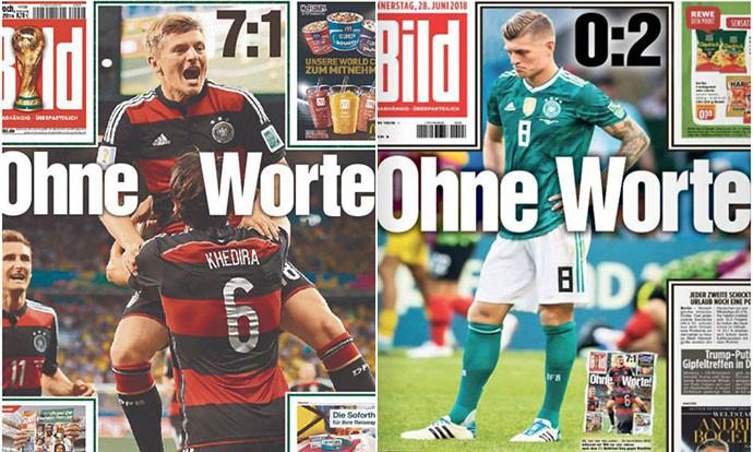"""""""Билд"""" остана без зборови по елиминацијата на Германија од СП 2018 и ја повтори истата насловна страница од 2014 година (ФОТО)"""