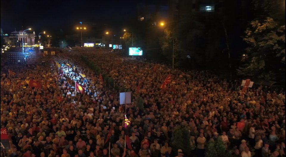 Ова е народ: Снимката со дрон покажува колку граѓани излегоа на вчерашниот протест (ВИДЕО)