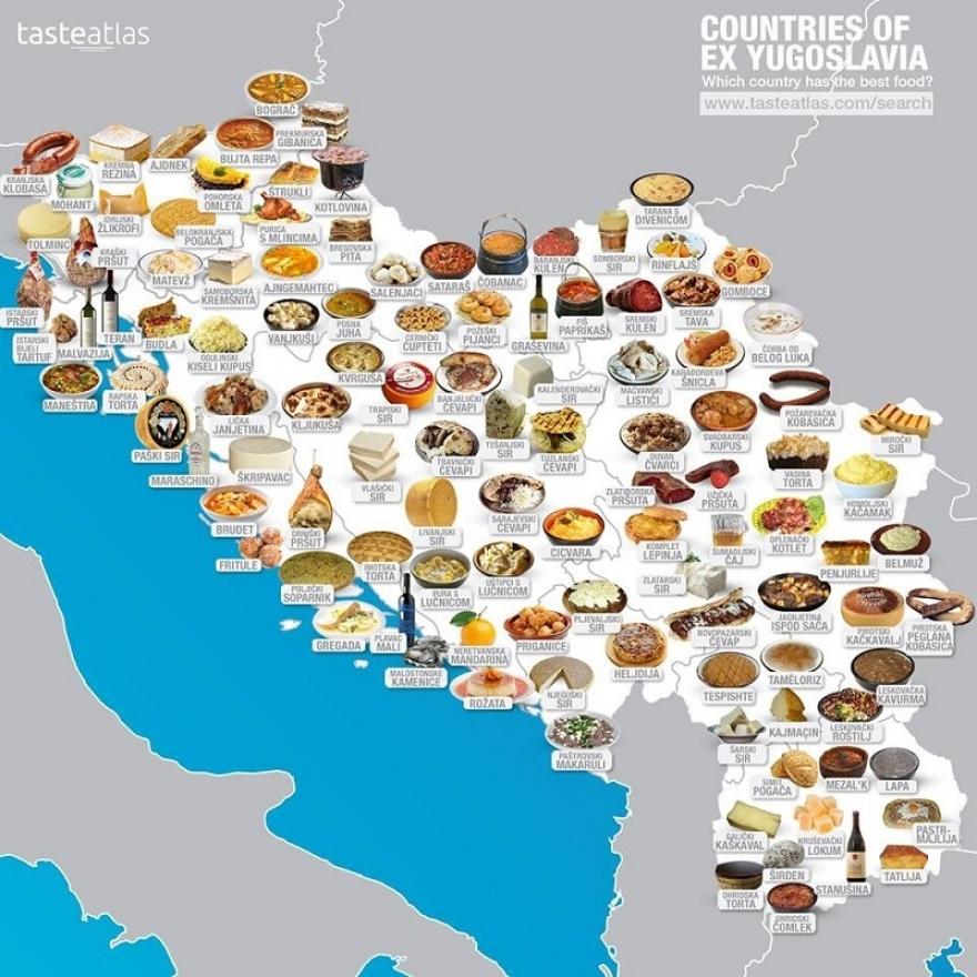 МАПА: Погледнете каде се јаде најубава храна во поранешна Југославија (ФОТО)