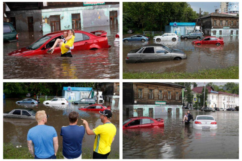 Рускиот град каде што се игра Мундијалот под вода: Улиците станаа реки, а сите го забележаа јунакот кој ги спасуваше жените (ФОТО ГАЛЕРИЈА)