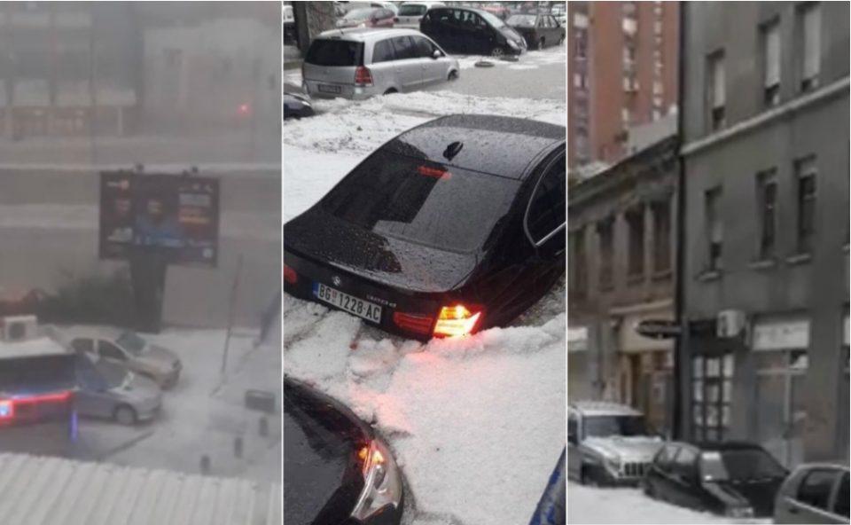Апокалиптични сцени во Ужице: Се е бело како сред зима, улиците станаа реки, автомобили пливаат во вода (ФОТО+ВИДЕО)