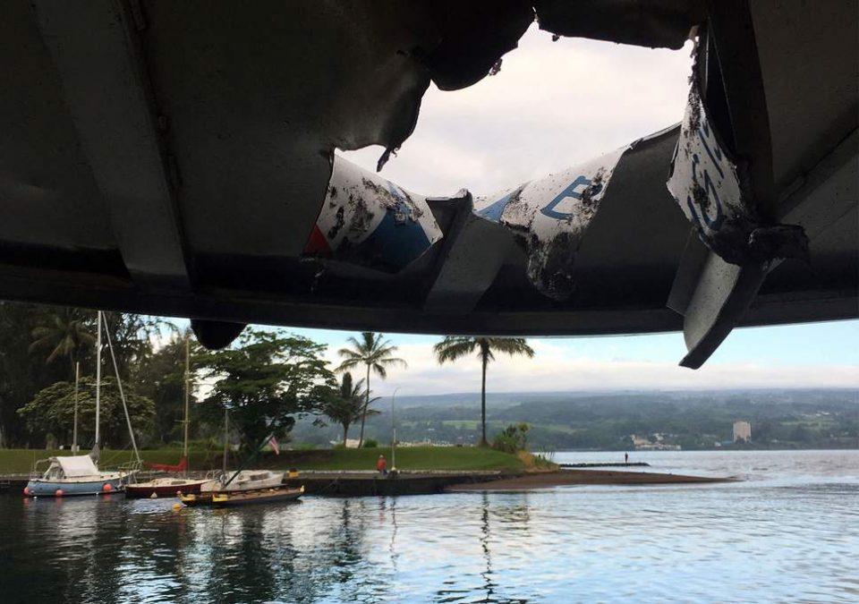 Објавена видео снимка од бродот кој беше погоден од лава