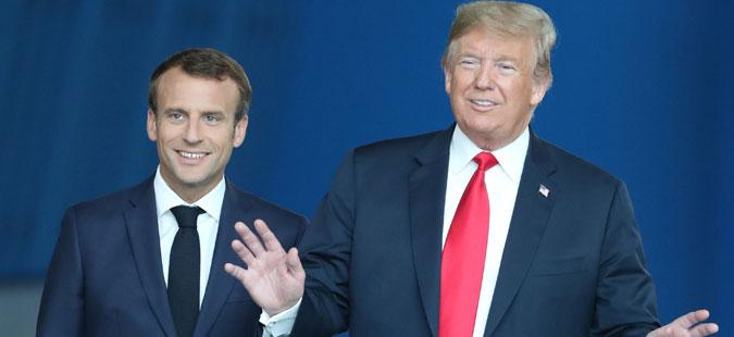 """Трамп го уверил Макрон дека """"нема јаз"""" во односите помеѓу Европа и САД"""