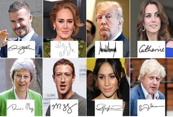 Славните разоткриени: Потписите ги откриваат тајните на Трамп, Адел, Меган, Тереза…