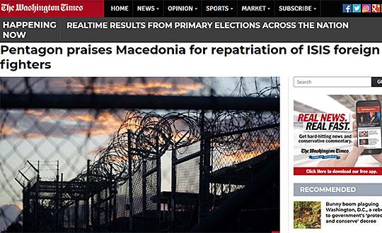 Пентагон ја поздрави репатрирацијата на седумте македонски борци од ИСИС