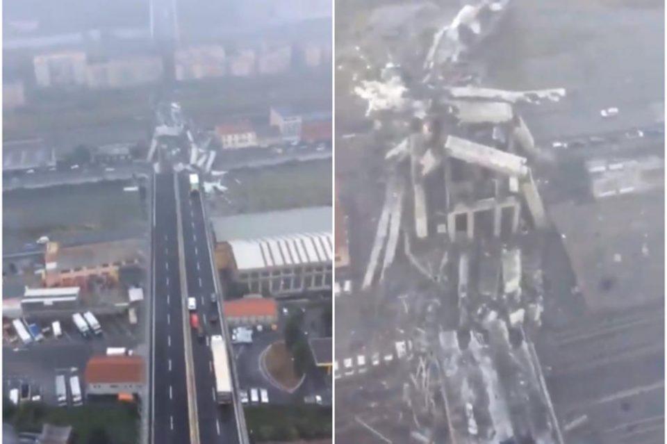 Срушениот мост затрупа автомобили и луѓе: Морничави снимки од воздух од катастрофата во Џенова (ВОЗНЕМИРУВАЧКО ВИДЕО)