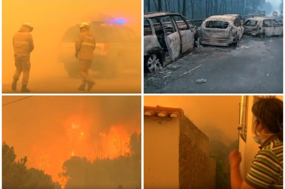 Пекол во Португалија: Огнената стихија голта се пред себе и се заканува на туристите- пожарот се приближува до познатите плажи (ВИДЕО)