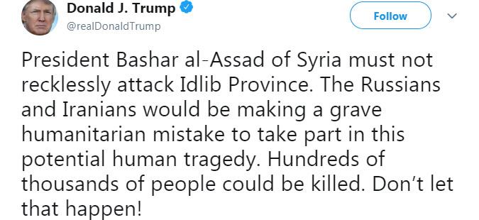 Трамп го предупреди Асад и неговитe сојузници во Сирија да не го напаѓаат Идлиб