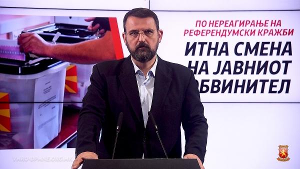 Стоилковски: ВМРО-ДПМНЕ инсистира на итна смена на Републичкиот јавен обвинител