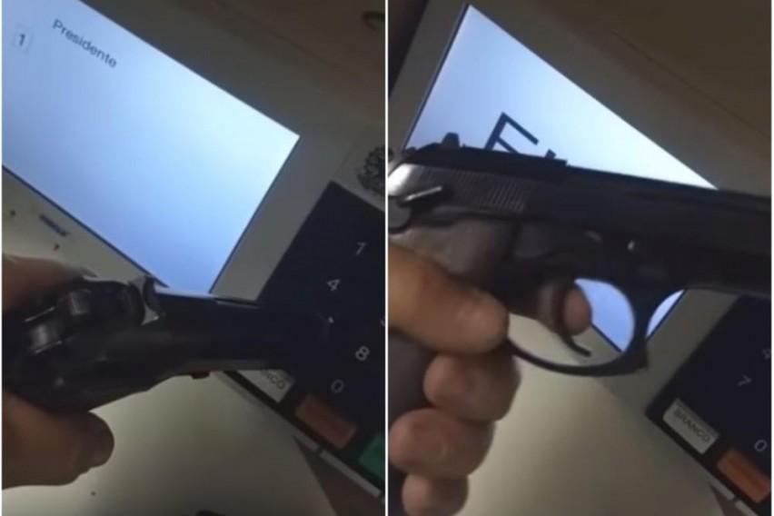 Вака се гласа со пиштол: Шокантна снимка од гласачко место… (ВИДЕО)