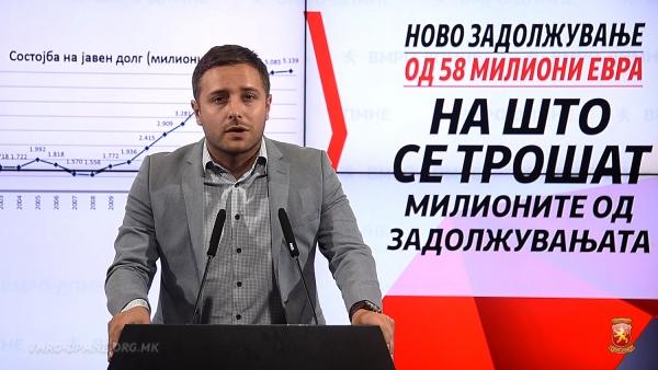 Арсовски: СДСМ денес ги задолжува граѓаните за нови 58 милиони евра, каде завршуваат милионите кои власта секој месец ги зема на заем?