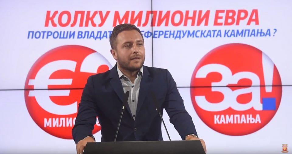 Арсовски: Колкава сума на народни пари, господата од СДСМ потрошија за кампањата за неуспешниот референдум?