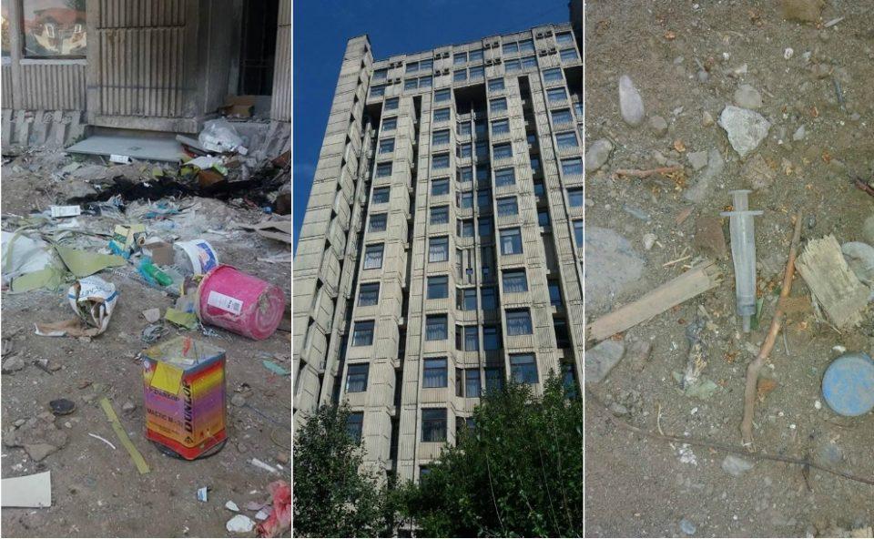 """Состојбата кај студентскиот дом """"Гоце Делчев"""" загрижувачка: Студентите се гушат во отпад, градежен шут и шприцови (ФОТО ГАЛЕРИЈА)"""