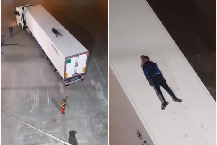 Мигрант легнал на покривот на камион и мислел дека никој не го гледа, а тоа што следувало потоа ќе ве остави во неверување (ВИДЕО)