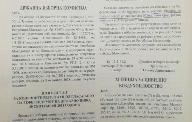 """(ФОТО) Официјално: Референдумот пропадна – решението објавено во """"Службен весник"""""""