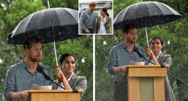 """Ќе се стопите: """"Во ред е, ја имам мојата сопруга""""- Хари одби чадор, бидејќи Меган го штитеше од дождот (ВИДЕО)"""