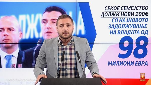Неспособната Влада на Заев и министерот за задолжување Тевдовски вчера направија нов долг од 98 милиони евра