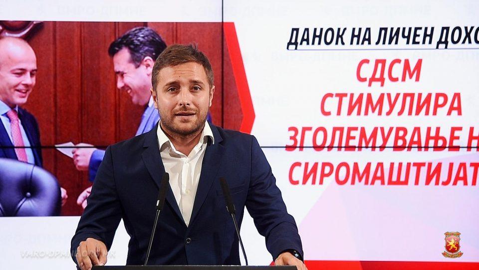 Арсовски: Со воведување прогресивен данок, СДСМ ги повикува граѓаните на непослушност