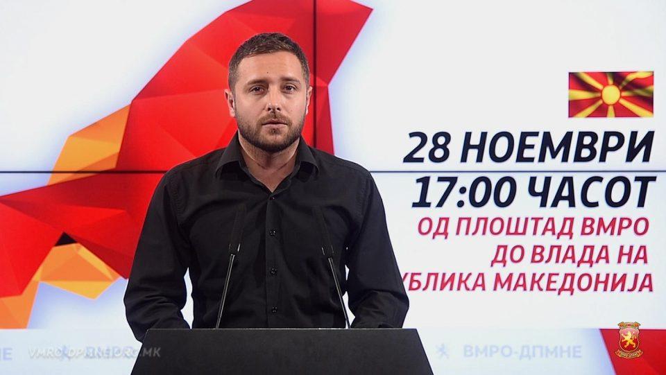 Арсовски: Ве повикуваме на 28 ноември во 17 часот, збирно место Плоштад ВМРО и се упатуваме пред Владата, да ја поразиме оваа криминална власт на СДСМ