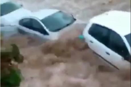 Хаос во познатото летувалиште: Поплавени улици, луѓе панично бегаат од автомобилите (ВИДЕО)