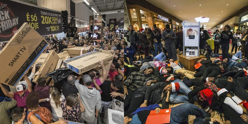 Лудилото започна: Купувачи чекаа да влезат во продавниците- потоа започна пеколот за вработените (ВИДЕО)
