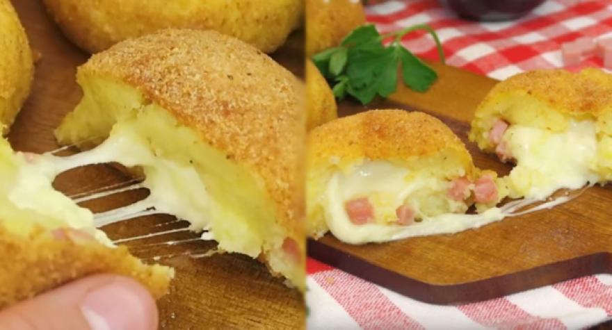 Печени бомбици од компир со растопен кашкавал (видео)
