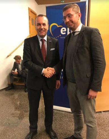 Мицкоски со честитка до Вебер: ЕНП одбрал идеален кандидат за да го движи процесот на Европска интеграција напред