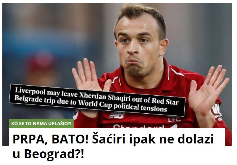 """ФОТО: Србите """"удрија"""" по Шаќири: """"Ти е страв од """"Делии"""", затоа не доаѓаш во Белград?"""""""